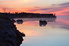 Fog down the Moose River at Moosonee before sunrise.