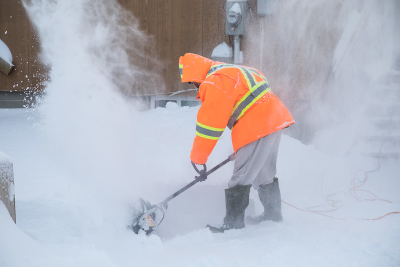 Snowblowing on Bay Road.