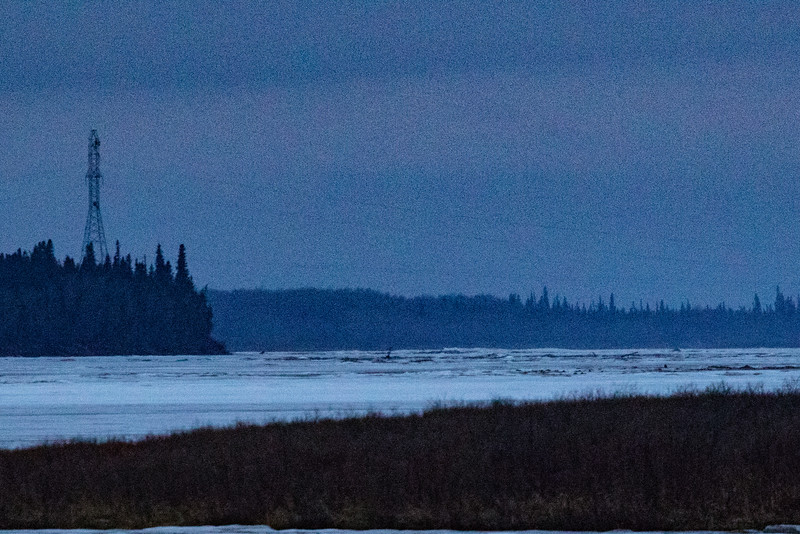 Looking up the Moose River towards hydro towers 9 pm 2016 May 4th. Lightroom dehaze 75.