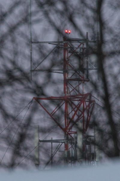 Top of microwave tower seen through the trees. Focus on microwave tower so trees are out of focus.