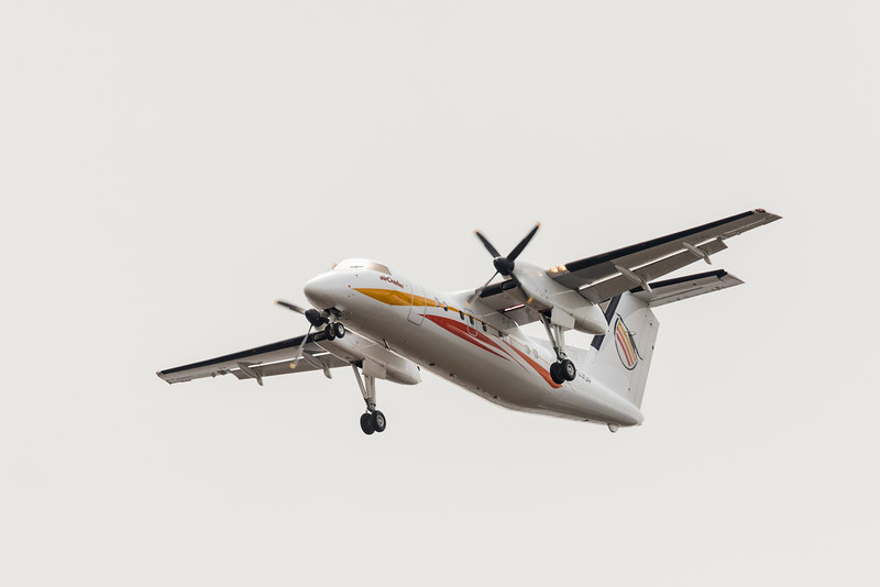 Air Creebec DHC-8 C-GJOP coming to land at Moosonee.