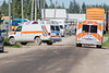 Ambulances on Revillon Road in Moosonee.