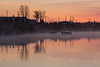 Moose River shoreline looking down river with low fog before sunrise. 2016 May 25th.