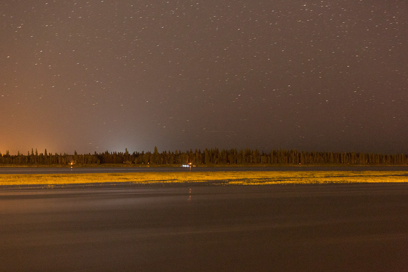 Looking across the Moose River at night. Time exposure.