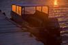 Taxi boat at Moosonee at sunrise.