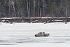 Truck driving on the Moose River in front of Butler Island 2017 April 3rd.