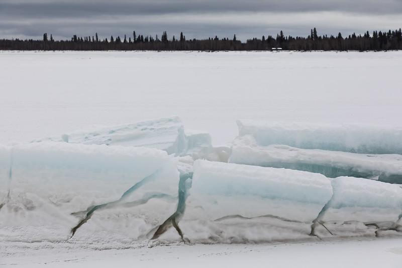 Broken vertical ice looking across to Charles Island.