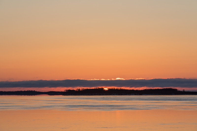 2017 May 3rd sunrise looking down the Moose River from Moosonee.