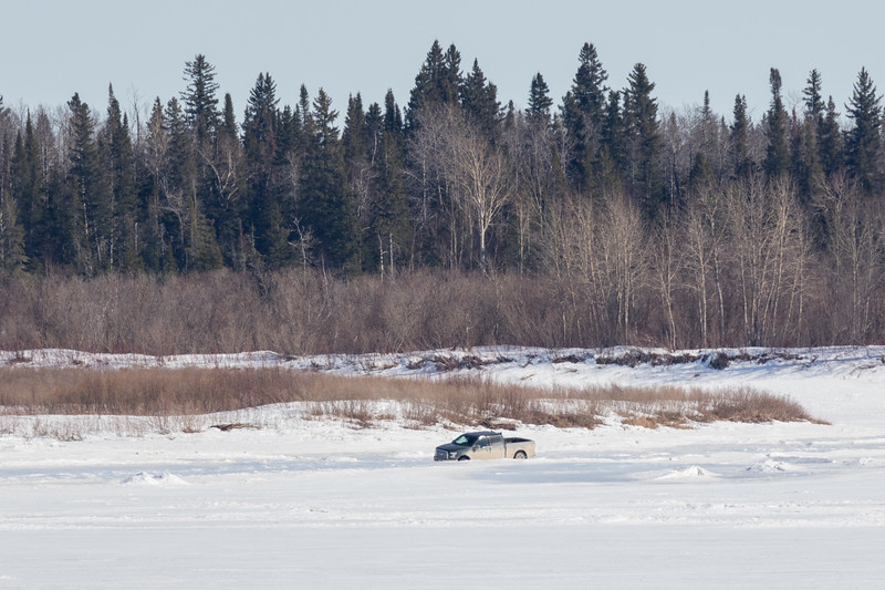 Truck stuck (temporarily) on the Moose River.