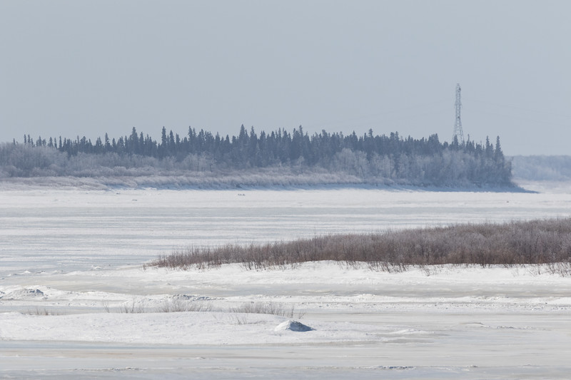 Looking up the Moose River from Moosonee 2017 March 19th.