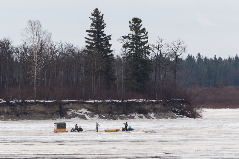 South end of Butler Island. Ice testers and snowmobile taxi.