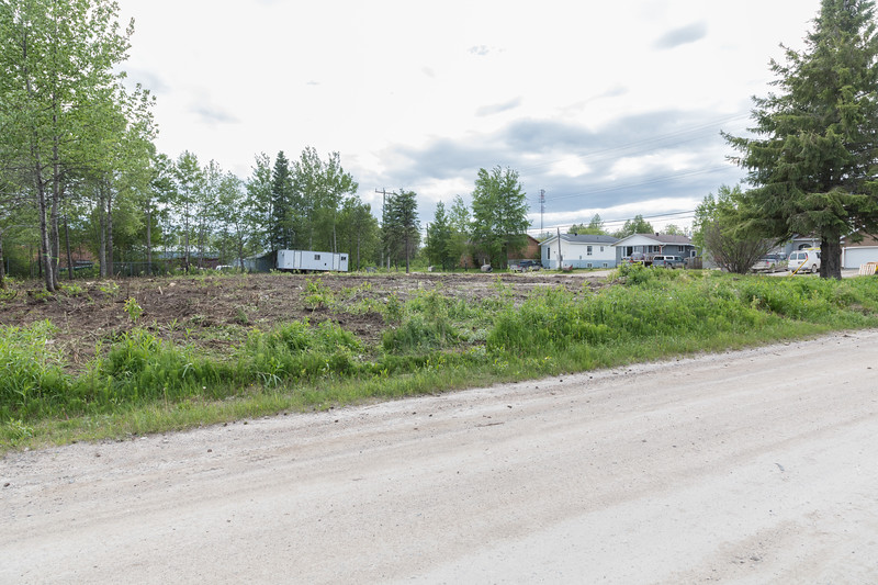 Cleared area at corner of Ferguson Road and Fourth Street in Moosonee 2017 June 24th.