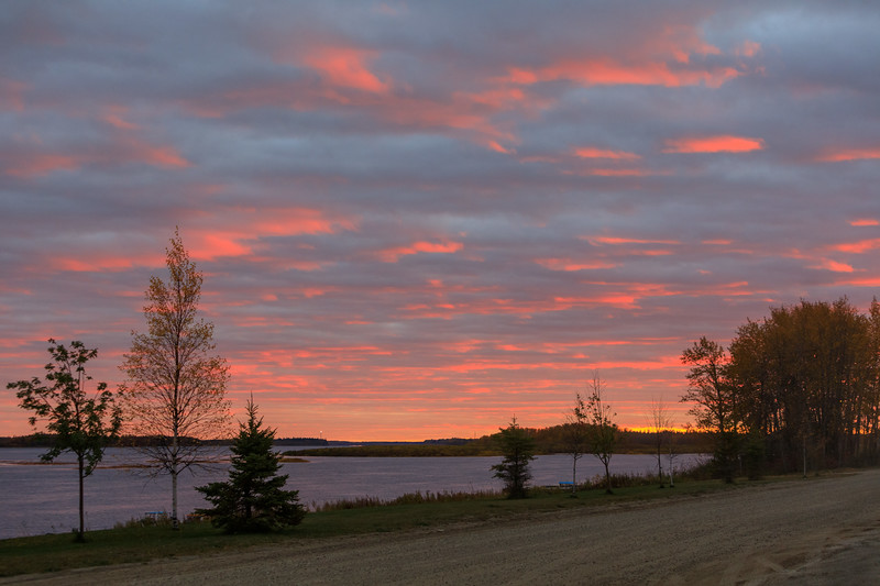 Revillon Road and the Moose River around sunset.