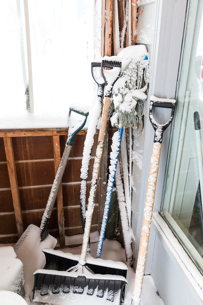 Shovels in porch at Keewaytinok Native Legal Services