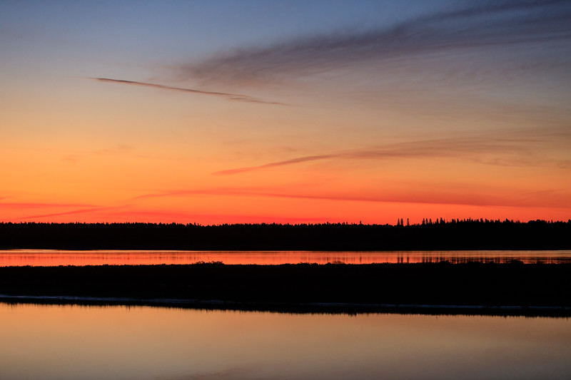 The intense colours visible before sunrise over the Moose River at Moosonee 2017 October 2nd.