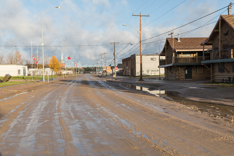 First Street in Moosonee on a sunny morning.