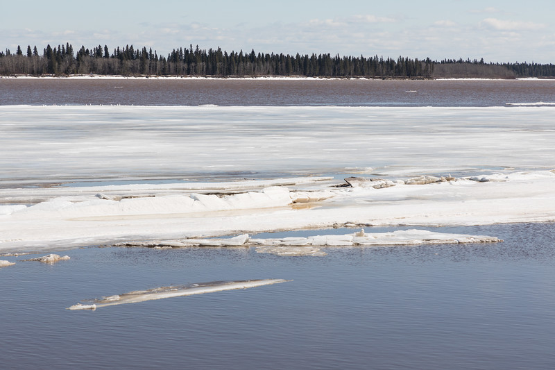 Ice moving down the river.