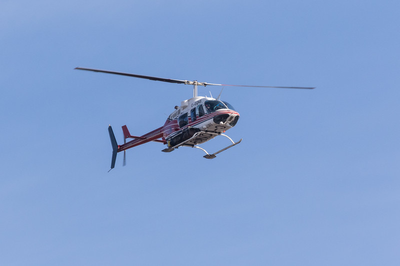 Helicopter C-GQNS heading to Moose Factory from Moosonee 2017 April 30th.