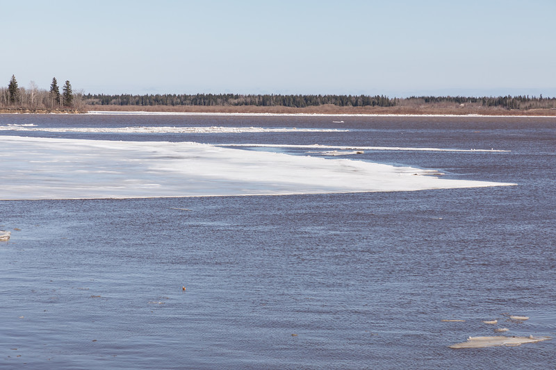 End of massive ice sheet heading down the river.