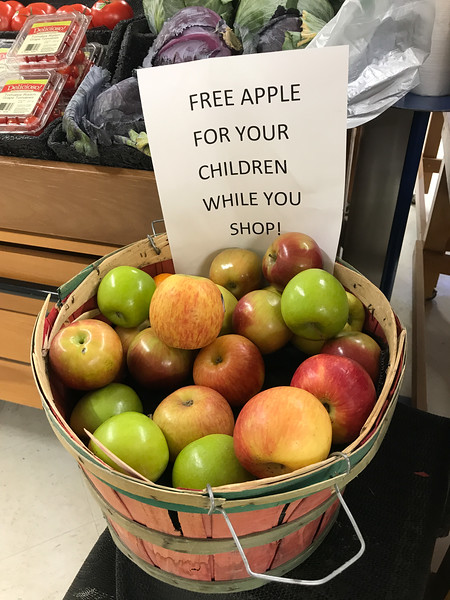 Free apple for your children while you stop. Moosonee Northern Store. #nwc
