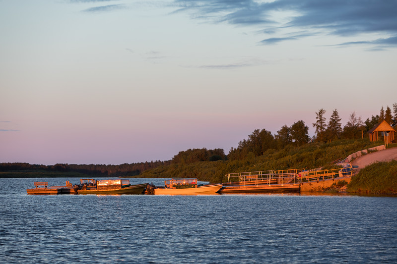 Moosonee public docks at sunrise.