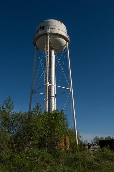 Moosonee water tower the night before demolition scheduled.