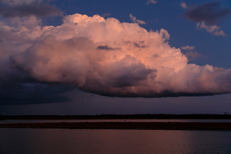 Clouds over the Moose River after a sudden downpour on a fall evening.
