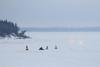 Snowmobiles down the Moose River coming towards Moosonee 2017 January 21st.