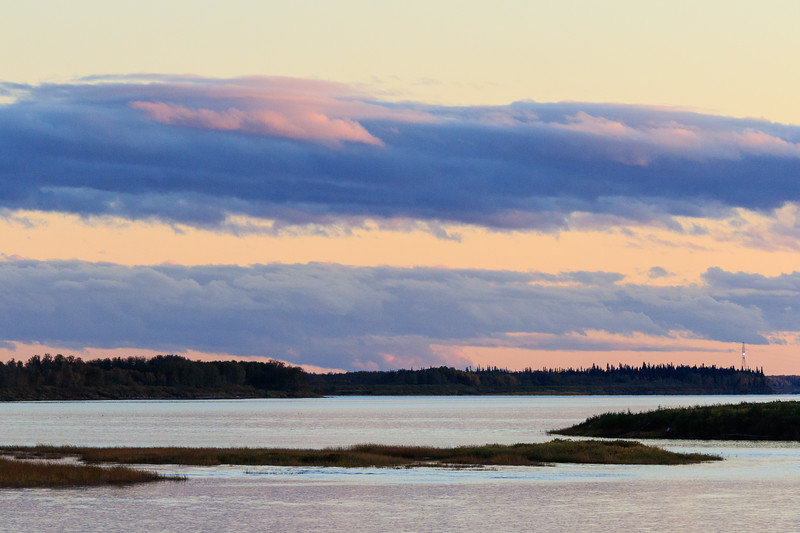 Looking up the Moose River before sunset.