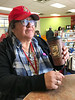 Denise Lantz drinking coffee at Northern Quickstop