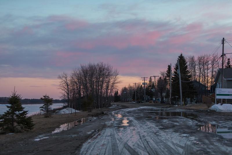 Revillon Road in Moosonee at sunset