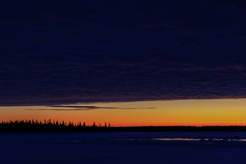 Looking across the Moose River from Moosonee before sunrise 2017 December 1.