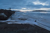 Moose River shoreline looking down the river from Two Bay docks 535 am 2017 April 28th. High tide.
