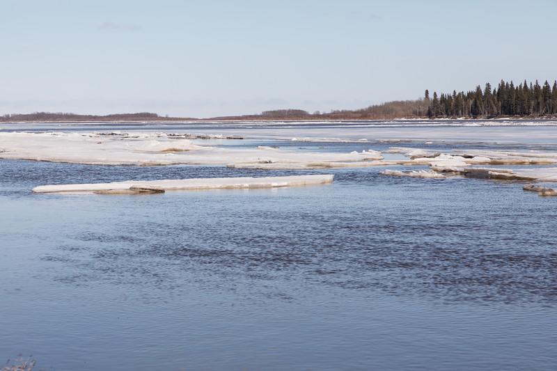 Shore ice heading down stream.