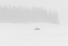Truck on the ice of the Moose River heading for Moosonee from Moose Factory in light snow.