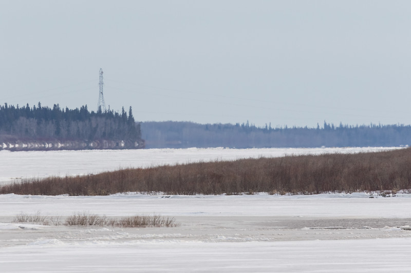 Looking up the Moose River from Moosonee 2017 April 24th.
