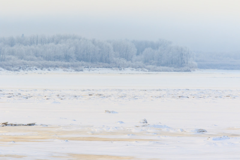 Looking up the Moose River from Moosonee on a misty morning 2017 December 3rd.