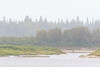 Looking across the Moose River from Moosonee in light fog 2017 September 6th.