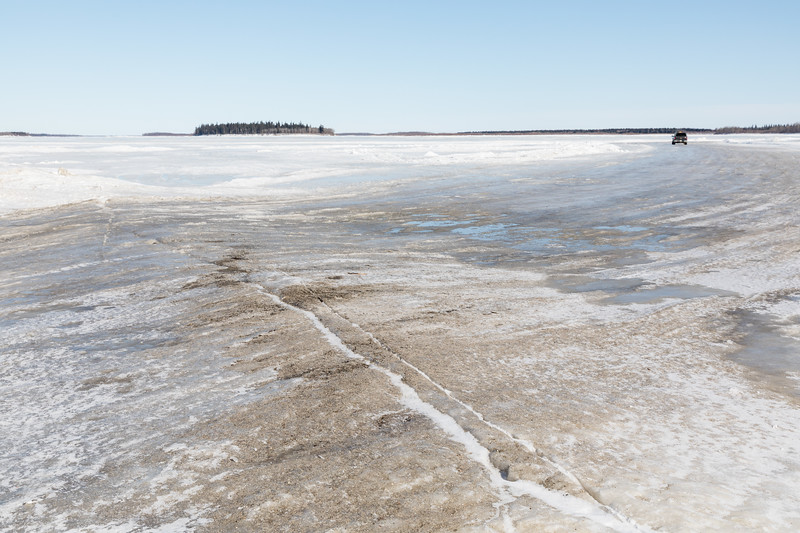 Looking across the winter road to Moose Factory towards Butler Island.