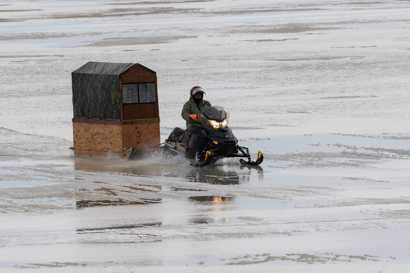 Snowmobile taxi on the Moose River 2017 December 5th.