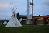 Two tipis outside Northern College (James Bay Education Centre) in Moosonee.