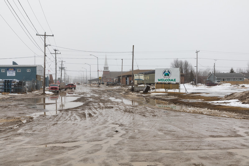 First Street in Moosonee from the train station 2017 April 27th.