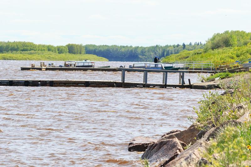Docks at high tide in Moosonee.