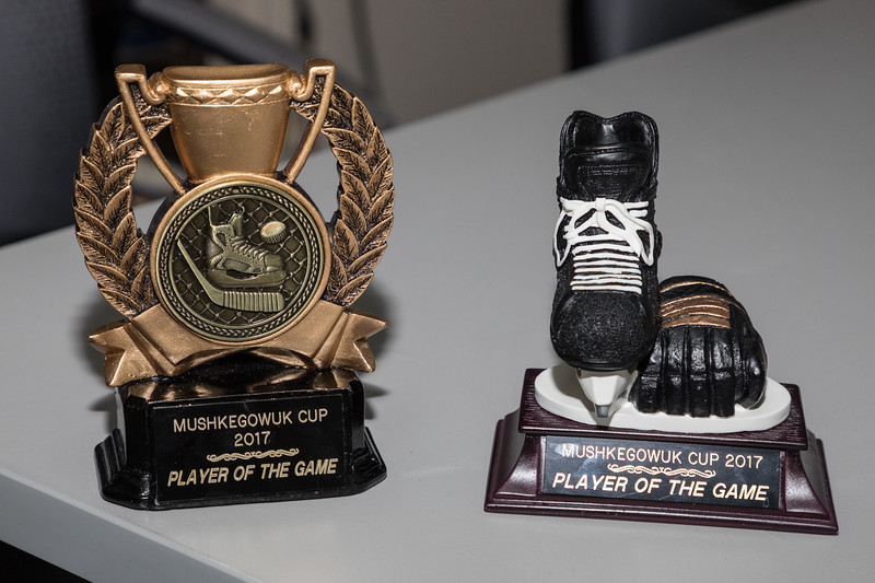 Two player of the game trophies won by Noah Metatawabin at the Mushkegowuk Cup 2017.