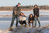 Young people who asked to have their picture taken above the Moose River in Moosonee 2017 April 21st.