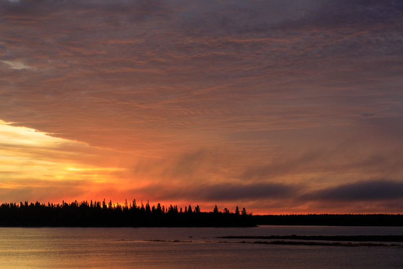 Clouds over the Moose River at Moosonee around sunrise 2017 September 24th.