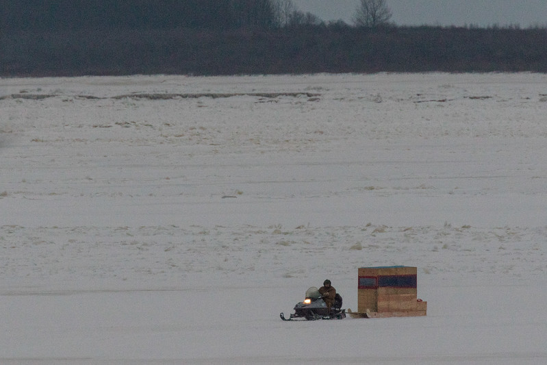 Snowmobile taxi on the Moose River. 2017 November 28.
