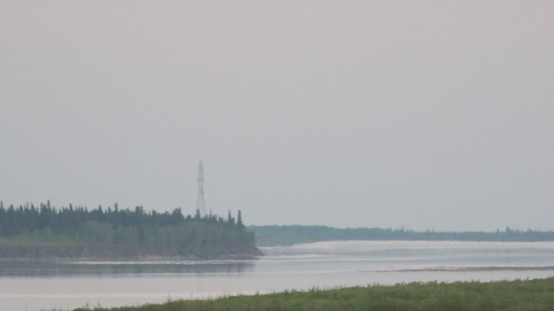 2017 June 7th lights on eastern hydro tower up the Moose River from Moosonee.