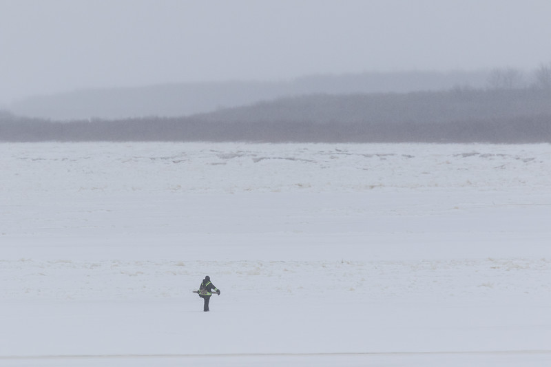 Person walking on the Moose River 2017 November 25th.