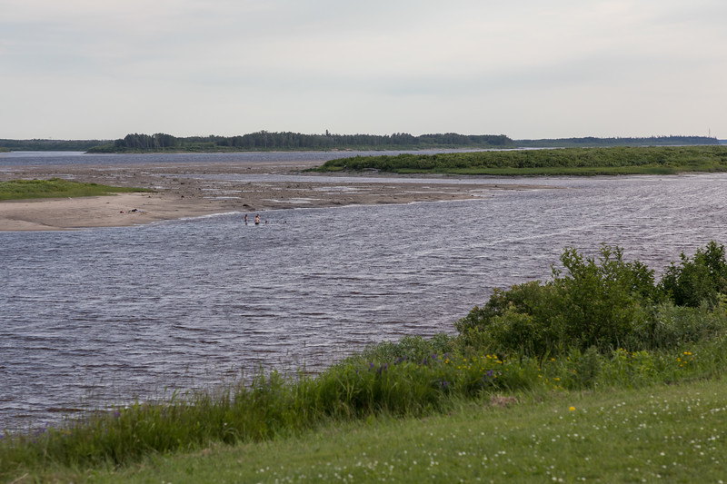 Looking up the Moose River at low tide. sandbar almost touches end of Island.